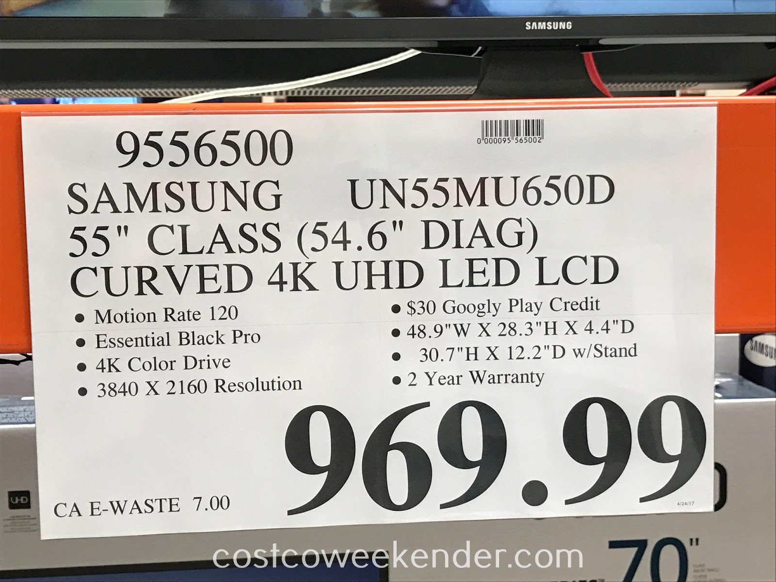 Deal for the Samsung UN55MU650D 55in Curved tv at Costco