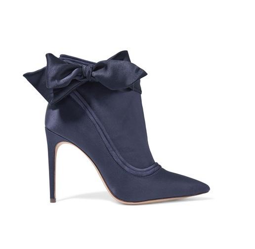 ALEXANDRE BIRMAN Liz Suede-trimmed Embellished Satin Ankle Boots