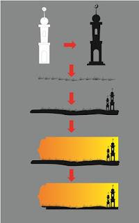 Membuat siluet menara masjid