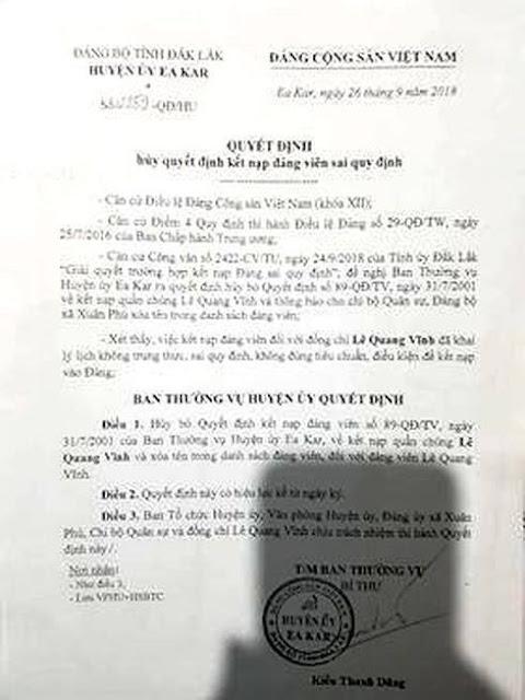 Quyết định xóa tên đảng viên đối với ông Lê Quang Vĩnh-Bí thư Đảng ủy xã Xuân Phú