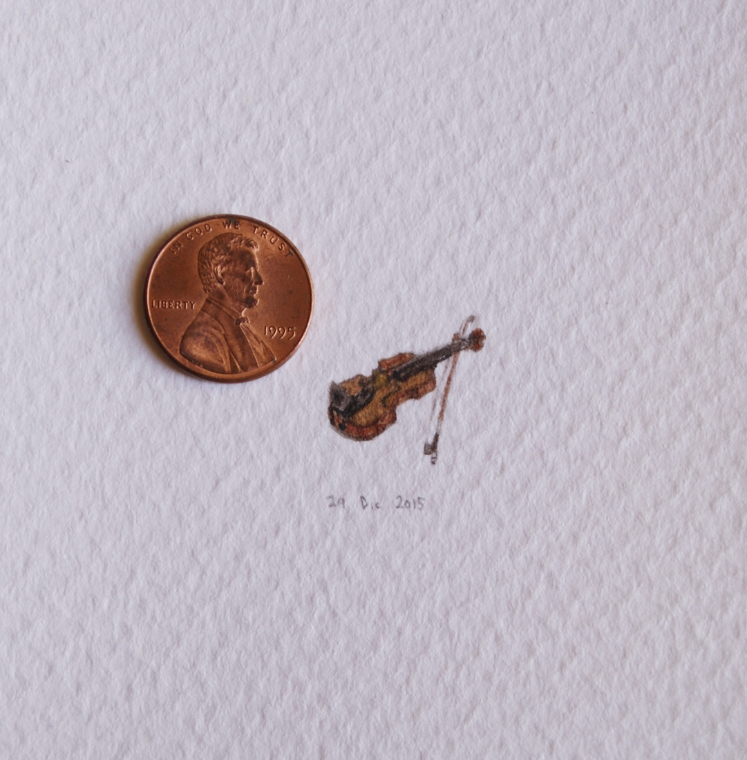 14-The-Violin-Guillermo-Méndez-Mr-Luigi-Miniature-Drawings-and-Watercolor-Paintings-www-designstack-co