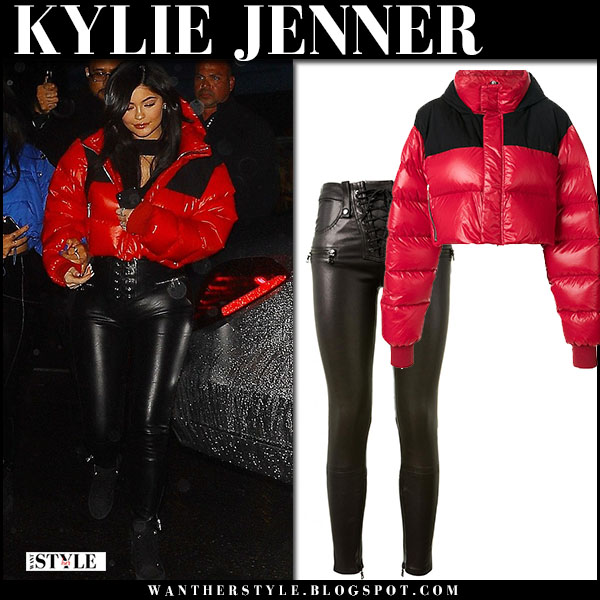 Kylie Jenner in red puffer jacket and black leather skinny pants unravel  night out fashion march 10