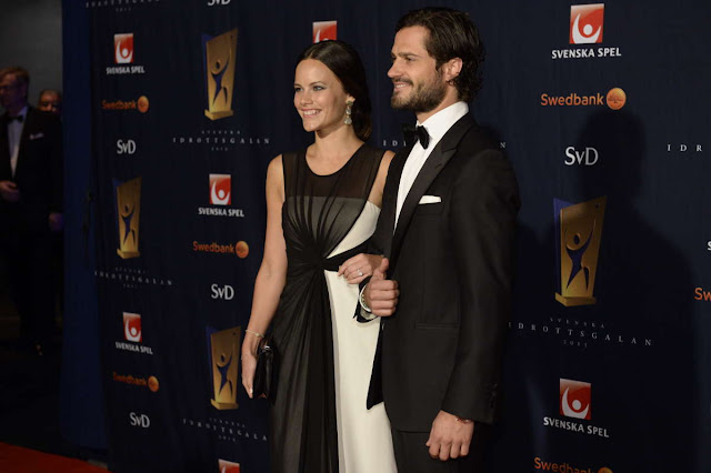 Prince Carl Philip and Sofia Hellqvist arrived at the Idrottsgalan 2015 in Stockholm