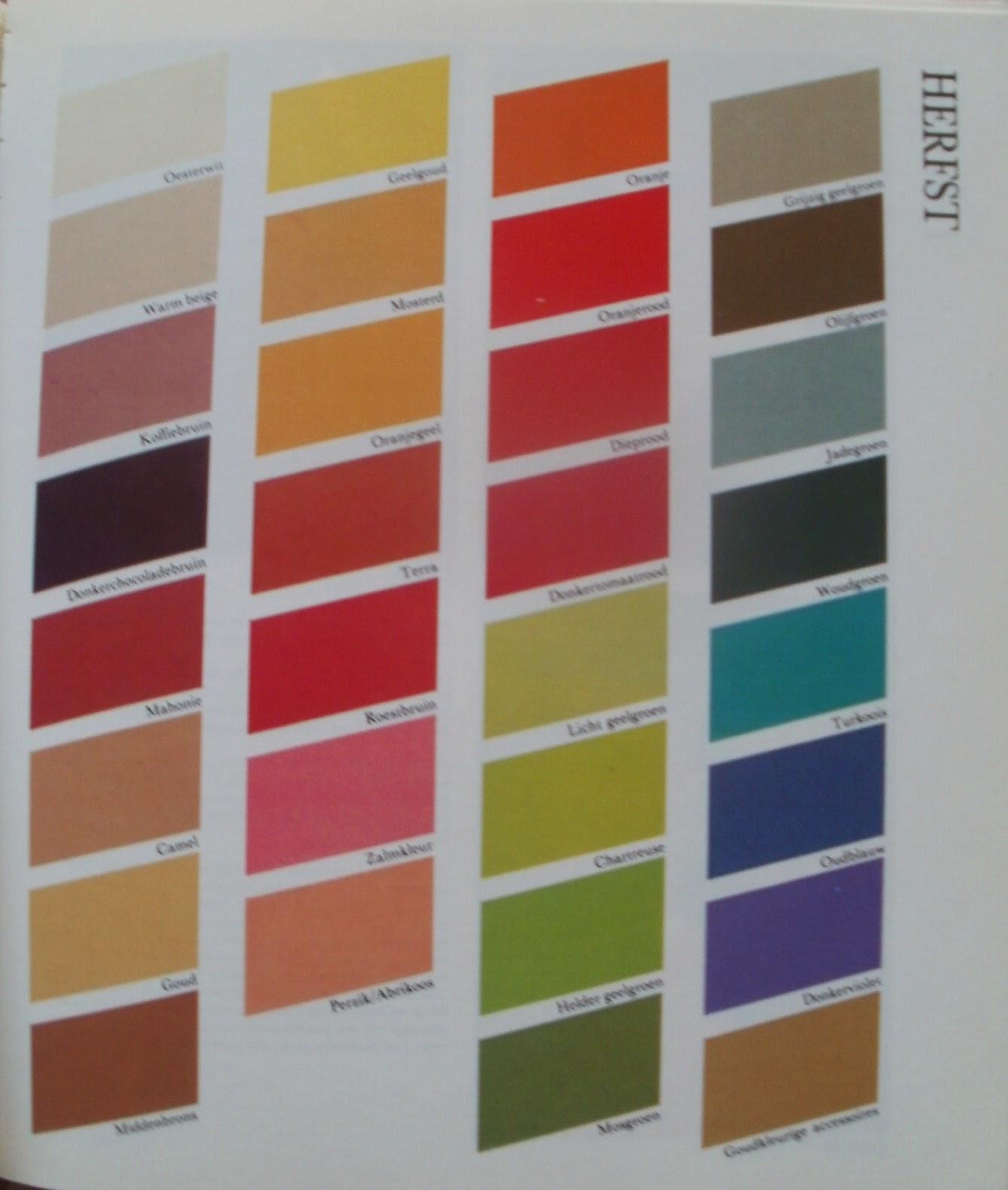 Kapsels en haarverzorging kleuren kaart lentetype zomertype herfsttype en wintertype - Koele kleuren warme kleuren ...