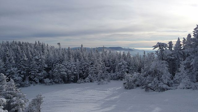 Snow covered panorama as seen from Sugarbrush resort, Vermont