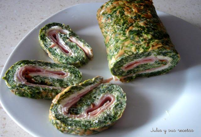 Rulo de espinacas con jamón. Julia y sus recetas