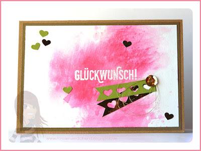 Stampin' Up! rosa Mädchen Kulmbach: Geburtstagskarte in Aquarelltechnik mit Herzbordüre und Paarweise