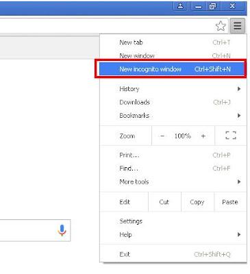 incognito mode  in Google Chrome