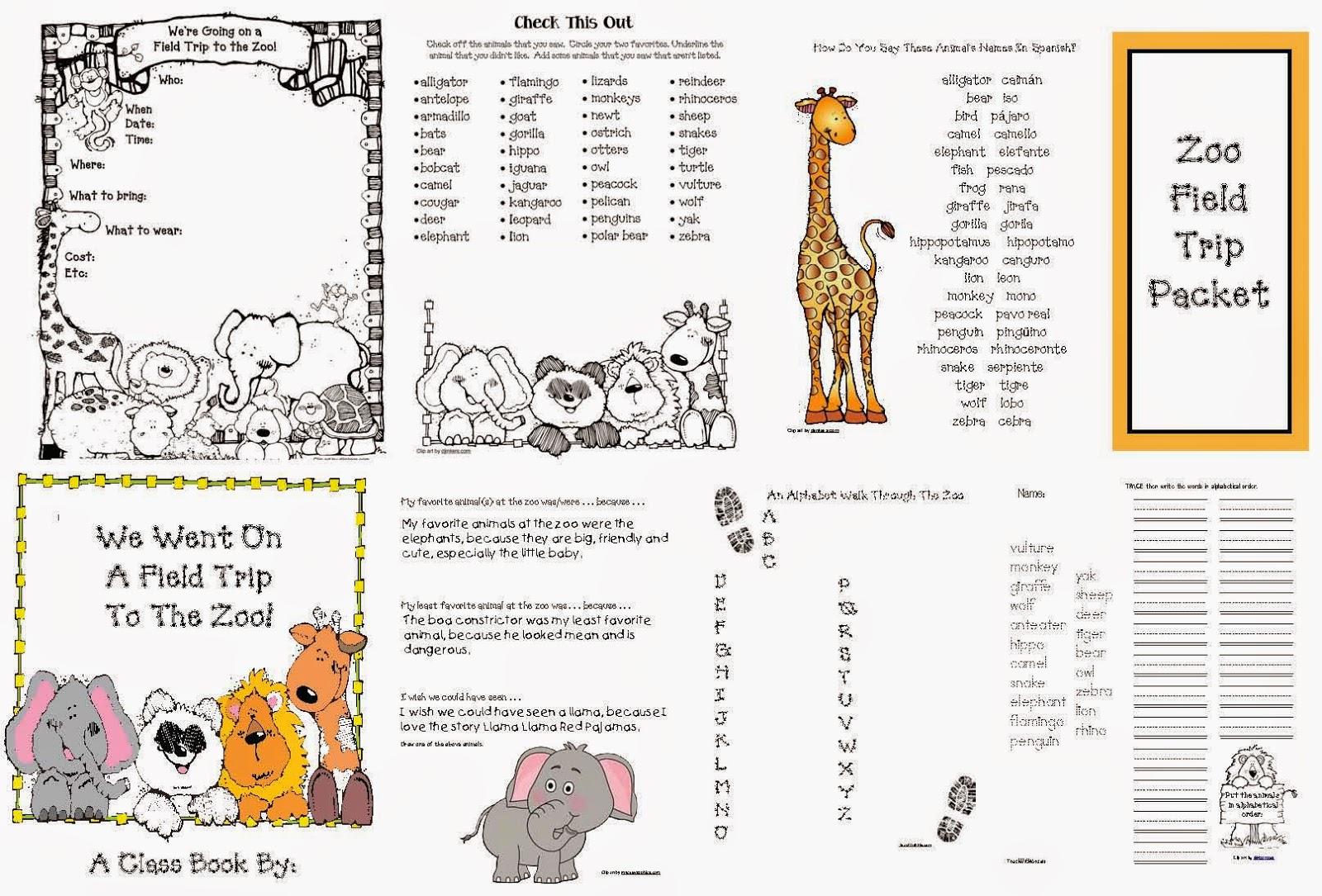 Classroom Freebies Zoo Field Trip Packet