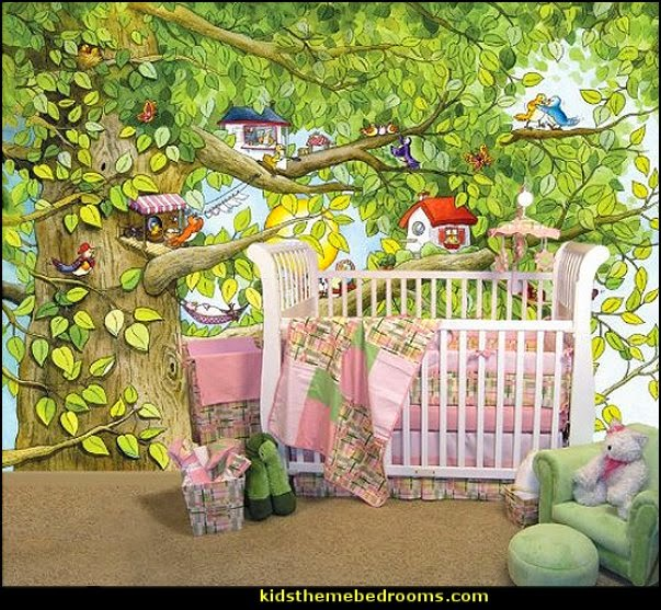 Decorating theme bedrooms maries manor tree murals for Butterfly mural ideas