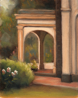 Oil painting of a Victorian-era portico with nearby trees, flowers and shrubs.