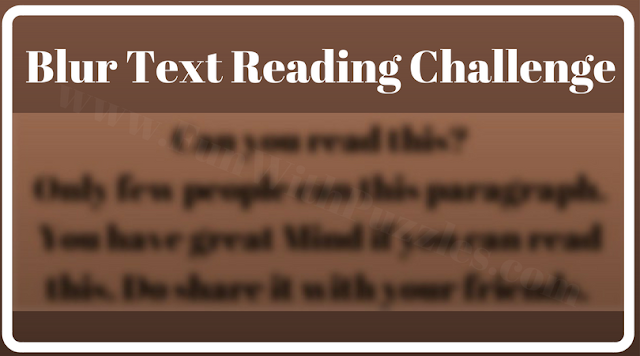 Blurred Reading Brain Teaser
