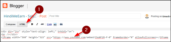 embed youtube video ko code paste kare
