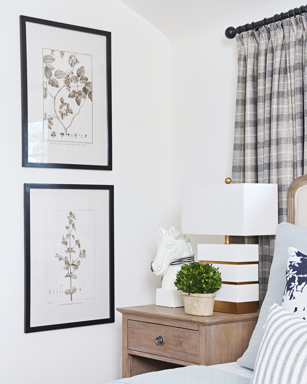 calm neutral master bedroom, Rambling Renovators, Couture Lamps Simeon, Rainsford Company botanical art