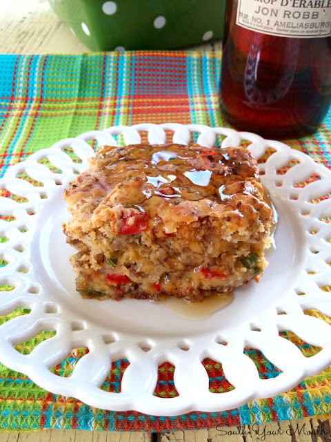 Breakfast Cake with Hot Maple Syrup! This savory breakfast cake is loaded with sausage, onions and peppers and served with hot maple syrup.