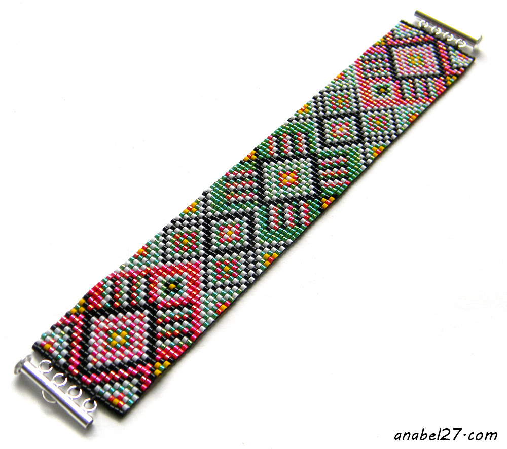 ethnic beaded bracelet loom cuff beadwork jewelry