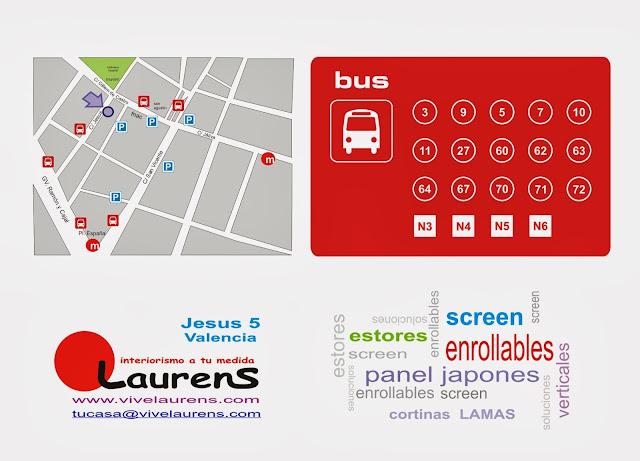 paradas de bus cercanas - tus estores en Valencia