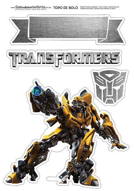 Transformers: Toppers para Tartas, Tortas, Pasteles, Bizcochos o Cakes para Imprimir Gratis.