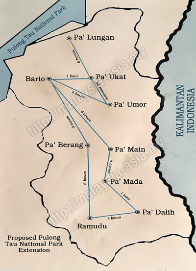 Map of Bario Villages