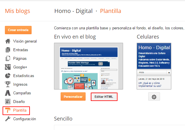 Blogger Modificar Plantilla HTML
