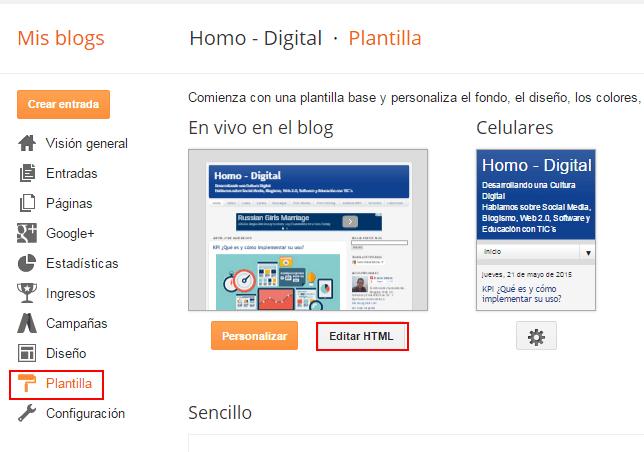 Blogger Modificar Plantilla HTML