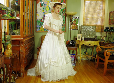 80s Belle Epoch White Satin Gown with Pearls, Sequins and Chapel Train