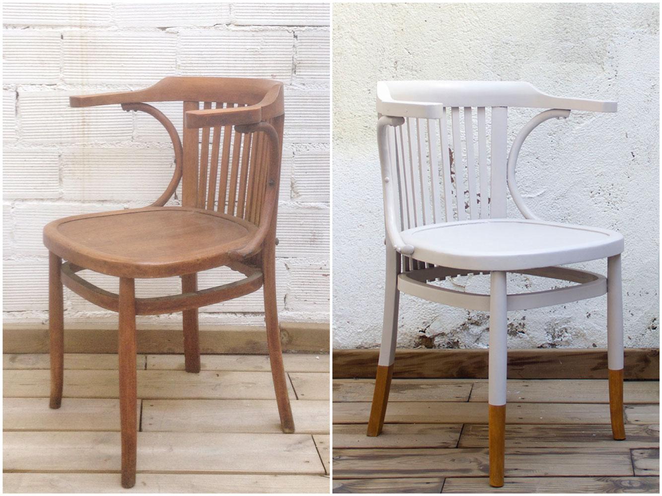 Antes y Después - Una silla bistró tipo Thonet en Dip-Dye inverso