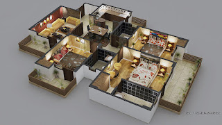 luxury-style-3-bedroom-3d-floor-plans-with-beautiful-bathroom