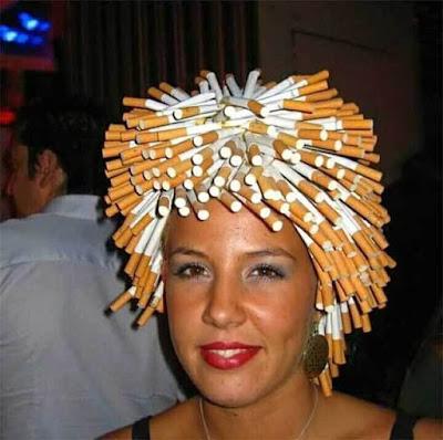 Interesting hair do.. Would you like a smoke