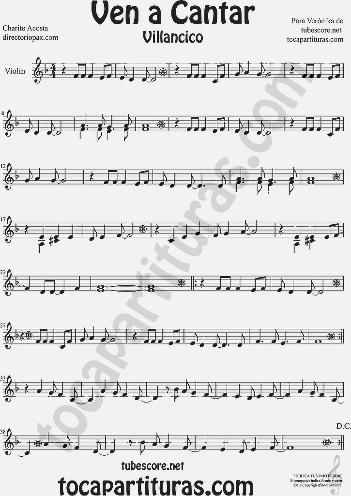 Ven a Cantar Partitura para Violín Sheet Music for Violin Music Scores Music Scores