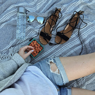 madewell gladiator sandals and sweater and distressed denim and picnic