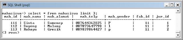 Kelas Informatika - Select Data Mahasiswa Limit 3