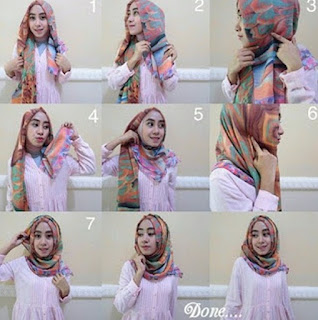 tutorial hijab pashmina satin simple dan mudah