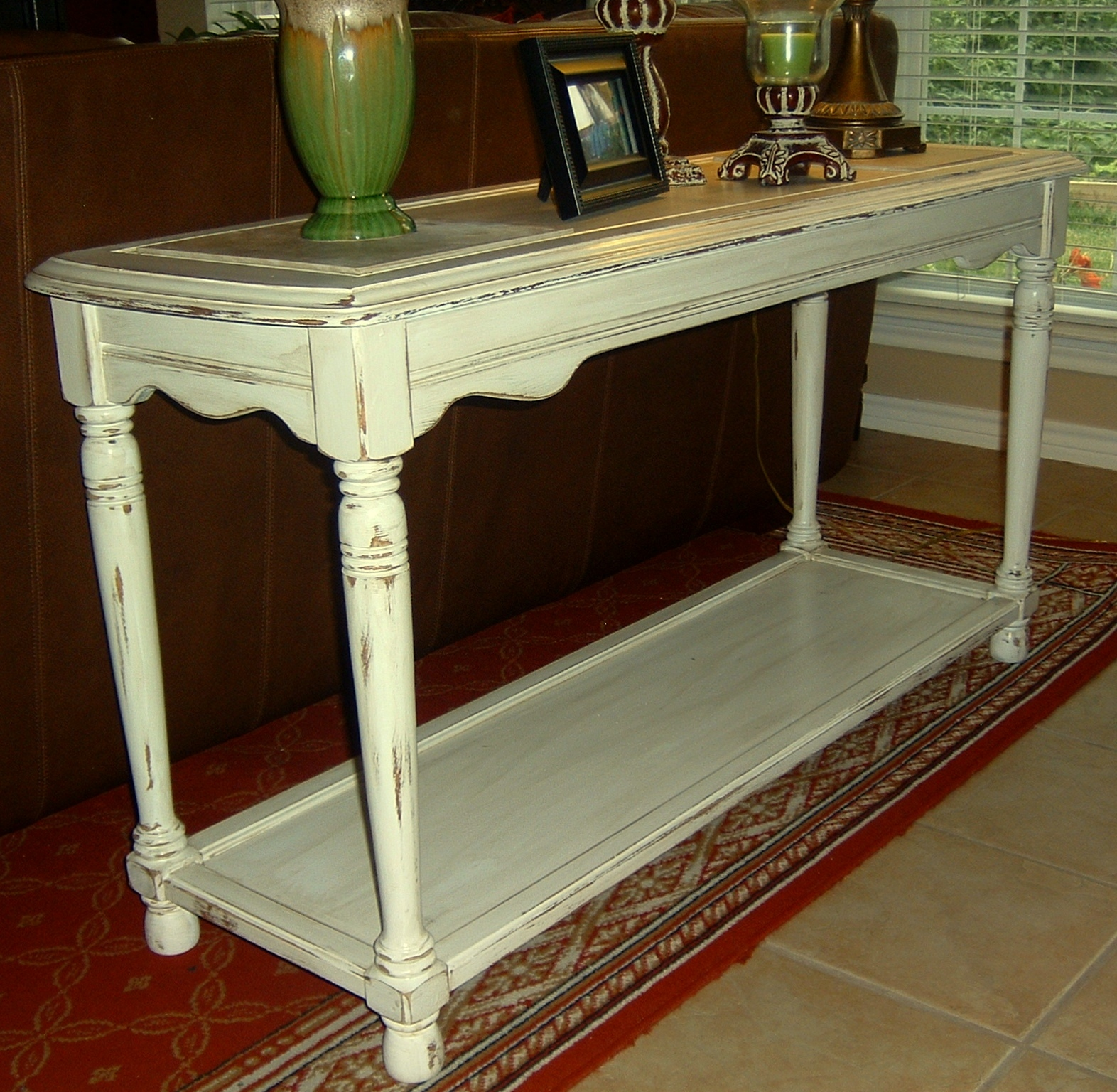 Highly Distressed Antiqued White Sofa Table Facelift Furniture