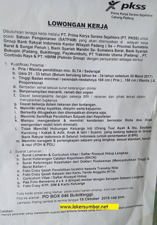 Lowongan Kerja di Sumbar via Prima Karya Sarana Sejahtera (Penutupan 18 Okt.2016)