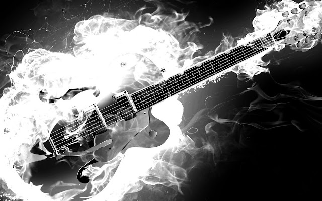 Great Guitar Sound Electric Rockabilly Guitar On Fire Monochrome Black And White Smoke Flames Hd Music Desktop Wallpaper 1920x1200 Great Guitar Sound