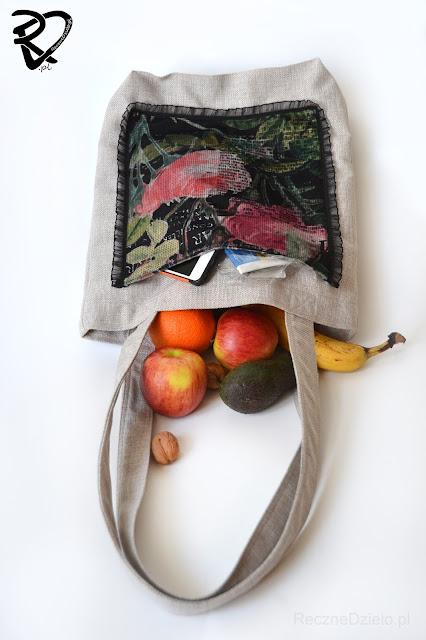 Szyta torba na zakupy na ramię