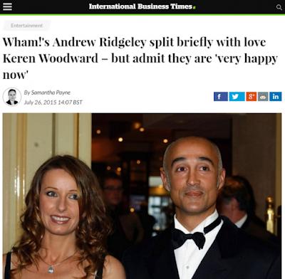 Noticia sobre la ruptura efímera de Andrew Ridgeley y su mujer, Keren Woodward, ex-cantante de Bananarama