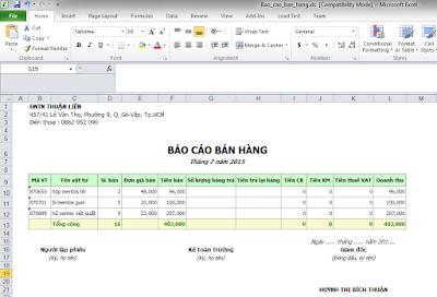 Báo cáo bán hàng xuất Excel phần mềm bán hàng miễn phí
