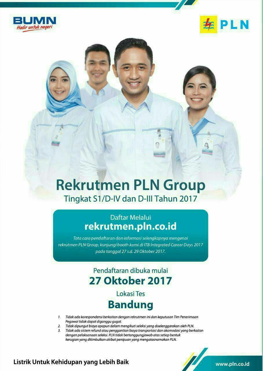Lowongan Kerja PT. PLN Bandung Oktober 2017