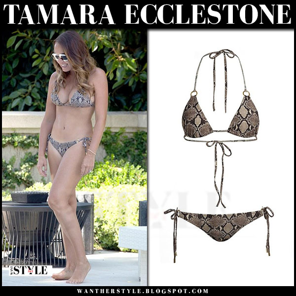 Tamara Ecclestone in brown snake print bikini melissa odabash what she wore