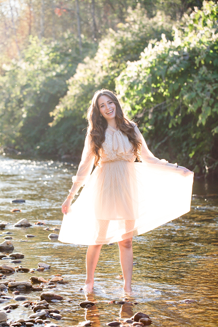 Vintage dress - river photoshoot in Vermont