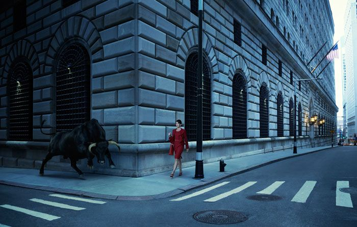 Fotomontaje Mujer y toro