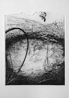 Paisaje III, grabado aguafuerte, exposición colectiva Bon Voyage, Sala Conca