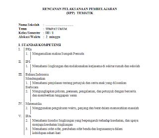 Contoh RPP Tematik Kelas 3 Kurikulum KTSP 2006 Semester Ganjil Genap