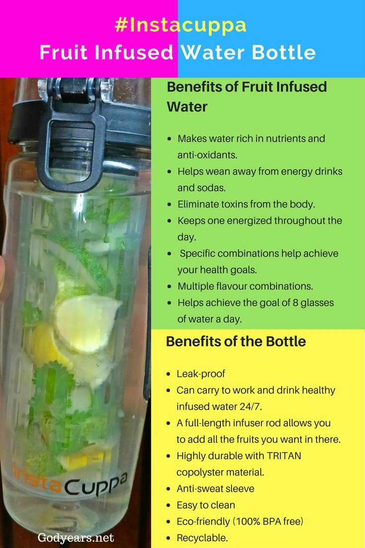 My advice: Keep one pitcher of fruit infused water in your refrigerator at all times and have one Instacuppa fruit infuser water bottle for each family member as well to take to work/ office/ school/ gym/ on long drives.