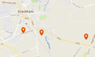Google Map showing BMARC location (left marker),  Aveling & Barford Factory (middle marker) and  Grantham Aerodrome (right marker).  (From Google My Maps)