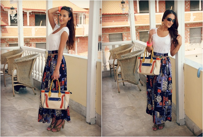 fresh summer looks with maxi printed skirts