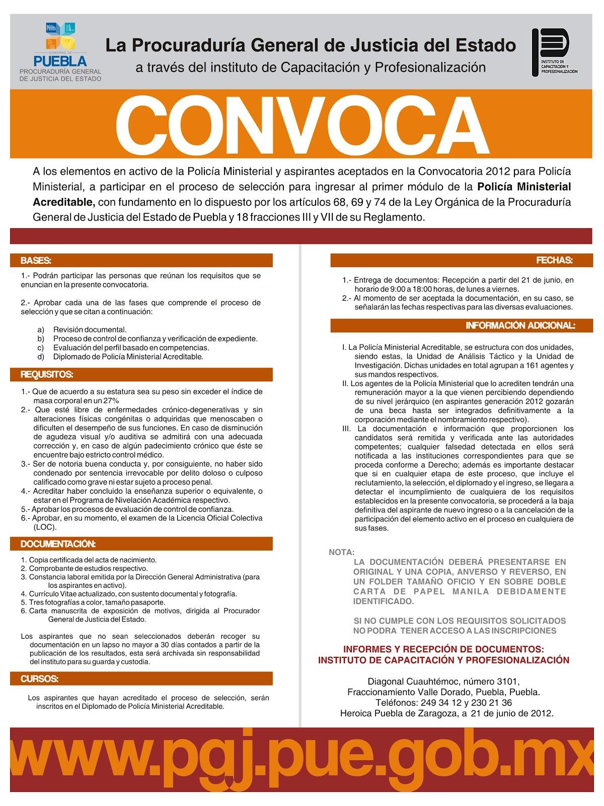 Fiscalía General Del Estado De Puebla Convocatoria A Primer