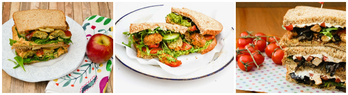 Falafel and apple sandwich, stacked falafel sandwich and a roast tofu and vegetable sandwich.